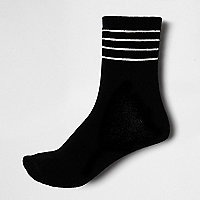Black mesh stripe ankle socks