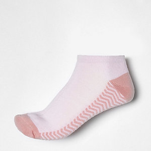 Pink stripe block trainer socks