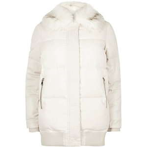 Cream padded coat with faux fur trim