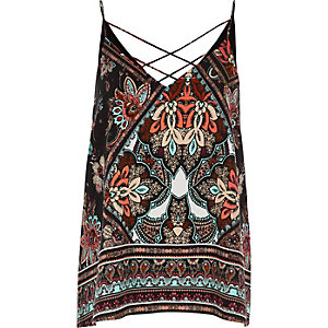 Black print strappy cami