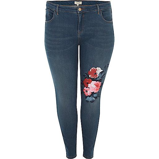 Plus mid wash Amelie super skinny jeans
