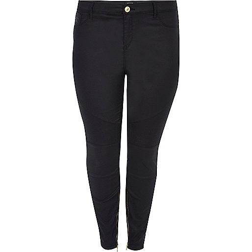 RI Plus black Amelie super skinny biker jeans
