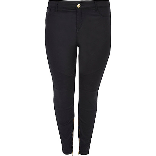 Plus black Amelie super skinny biker jeans