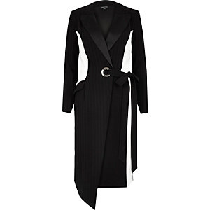 Black pinstripe block tux dress