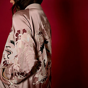RI Studio pink embroidered satin bomber