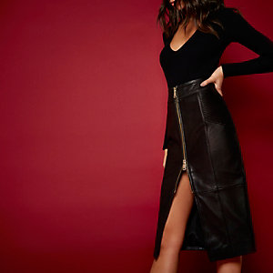 RI Studio black leather zip pencil skirt