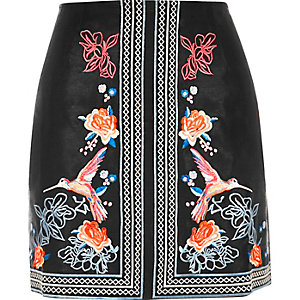Black floral embroidered mini skirt