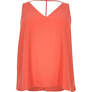 RI plus red strap back cami top