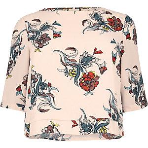 RI Plus pink floral print grazer top