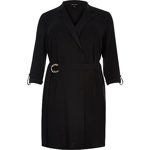 Robe chemise RI Plus noire chic