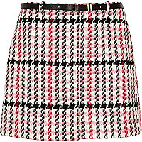 Plus pink checked belted mini skirt