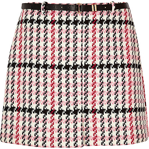 RI Plus pink checked belted mini skirt