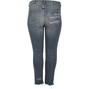 RI Plus medium blue Alannah slogan jeans
