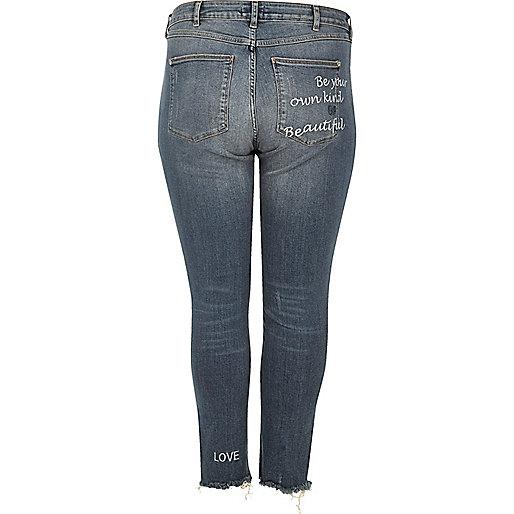 RI Plus medium blue Alannah slogan jeans