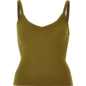 Khaki fitted cami top