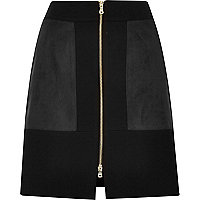 Black block zip front mini skirt