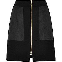 Mini-jupe colour block noire zippée sur le devant