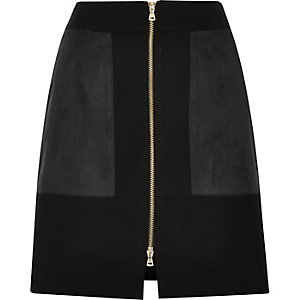 Black block zip front mini skirt