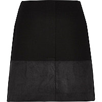 Black block panel mini skirt