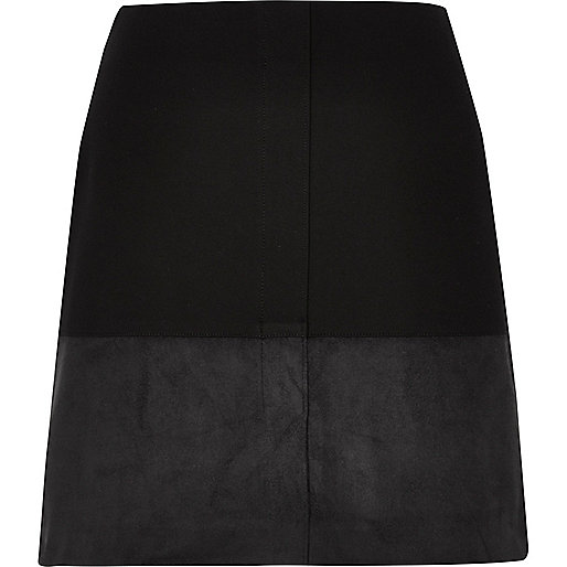 Black block panel mini skirt