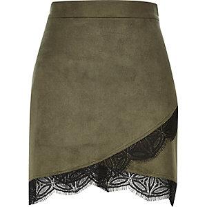 Khaki lace hem wrap mini skirt