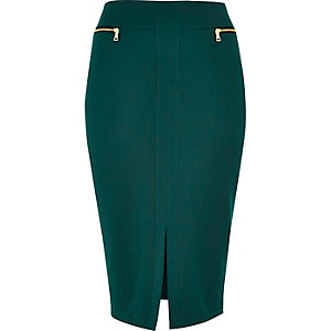 Dark green double zip pencil skirt