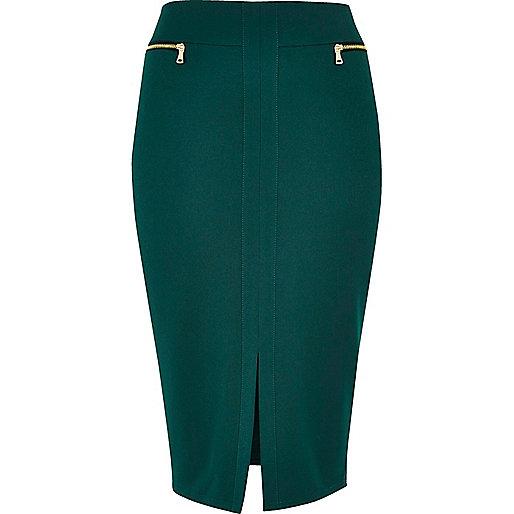 Dark green double zip pencil skirt