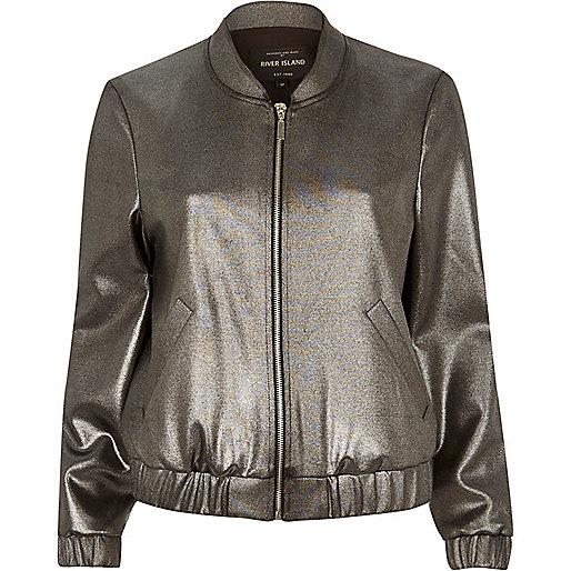 Silver foil bomber jacket