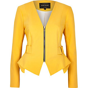 Yellow peplum jacket