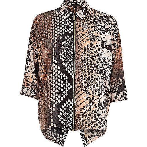 Grey snake print zip shirt