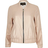 Light pink metallic bomber jacket