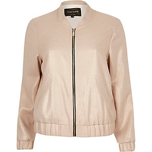 Light pink foil bomber jacket