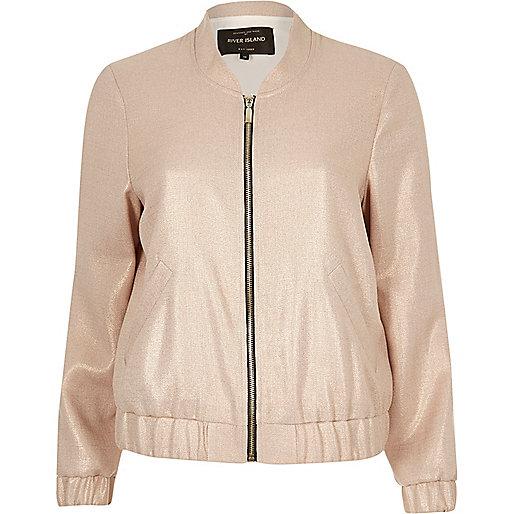 Light pink foil bomber jacket