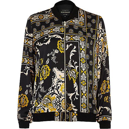 Black print silky bomber jacket