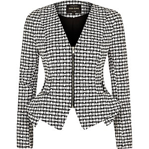 Black and white print peplum jacket