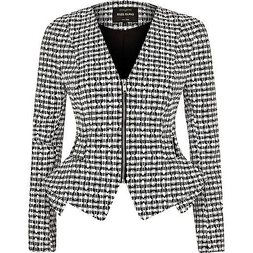 Black and white print peplum jacket