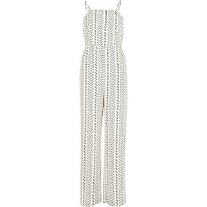 White stripe wide leg jumpsuit