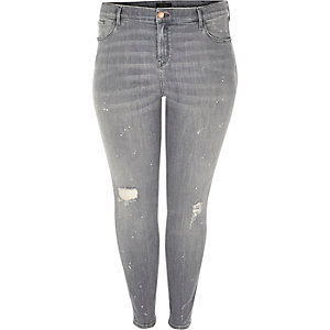 RI Plus grey wash Amelie super skinny jeans