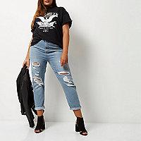 Plus – Helle Mom-Jeans im Used-Look
