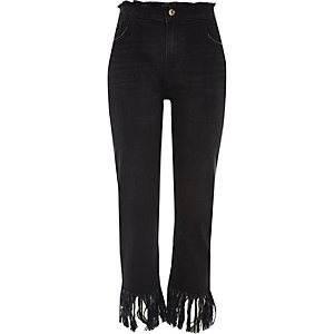 Black frayed cropped boyfriend jeans