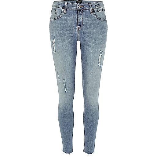 Amelie – Superskinny Jeans in hellblauer Waschung im Used-Look