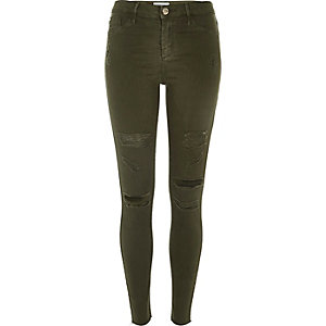 Molly – Jeggings in Khaki im Used-Look