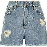 Light blue wash ripped high rise denim shorts