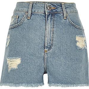 Short en jean délavage bleu clair déchiré à taille haute