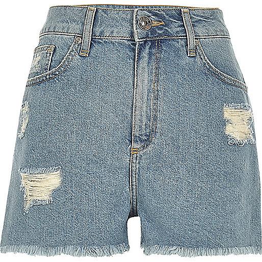 Light blue wash ripped high rise denim shorts