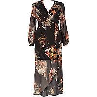 Black boho print chiffon maxi dress