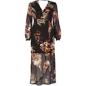 Robe longue en mousseline imprimé bohème noire