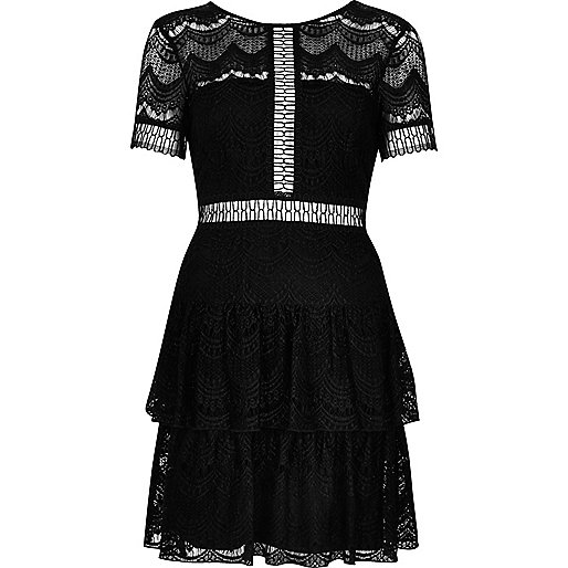 Black frill lace dress