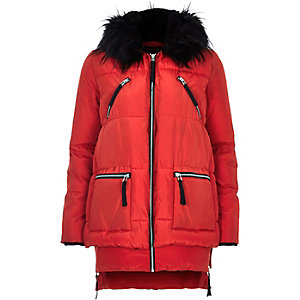 Red long sleeve padded jacket