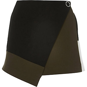 Black colour block wrap skort